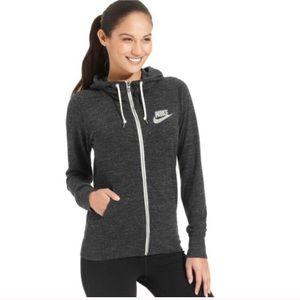 Nike Heather Gray Zip Up Logo Hoodie